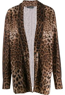 Dolce & Gabbana Cardigan Com Estampa Animal Print - Marrom