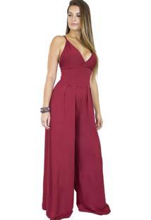 Macacão Dress Code Moda Pantalona Vermelho