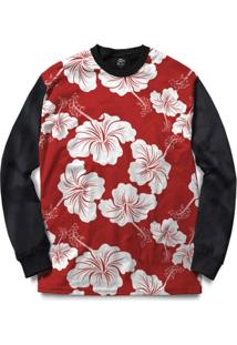 Blusa Bsc Flower Red N White Full Print - Masculino