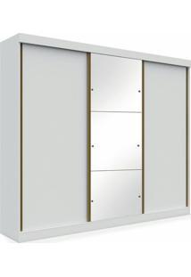 Armário York 03 Portas De Correr Sendo 01 Com Espelho - 2,30, Padrao - Branco
