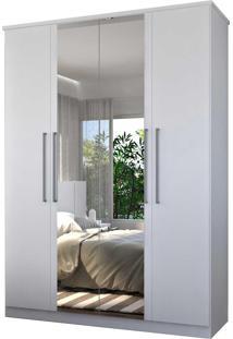 Guarda-Roupa Casal 4 Portas C/ 2 Espelhos Branco M Foscarini