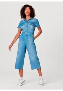 Macacão Jeans Hering Pantacourt Em Algodão E Elastano Feminino - Feminino-Azul