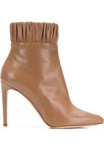 Chloe Gosselin Ankle Boot De Couro Com Franzido - Neutro