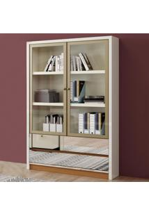 Estante P/ Livros 2 Portas 2 Gavetas 120Cm Tc115E Off White/Freijo - Dalla Costa