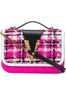 Versace Bolsa Tiracolo Virtus De Tweed - Rosa