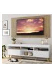 """Rack Com Painel E Suporte Tv 65"""" Londres Multimóveis Pés Retrô E 2 Portas Branco/Rustic/Natural"""