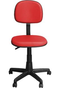 Cadeira Pethiflex Cs-02 Secretária Giratória Couro Vermelho