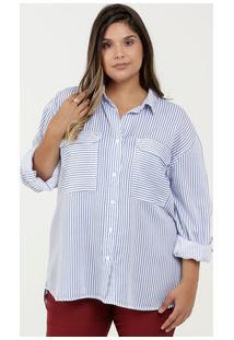 Camisa Feminina Listrada Plus Size Razon