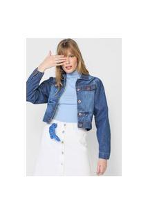 Jaqueta Cropped Jeans Forever 21 Estonada Azul