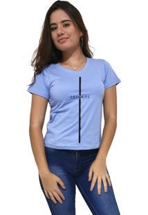 Camiseta Feminina Gola V Cellos Stripe Premium Azul Claro - Kanui