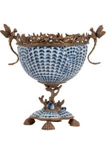 Vaso De Porcelana E Bronze Ii - Linha Blue