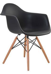 Cadeira Com Braço Pp Base Madeira Eiffel -Rivatti - Preto
