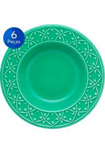 Conjunto De Pratos Fundos 6 Peças Mendi Salvia - Oxford - Verde