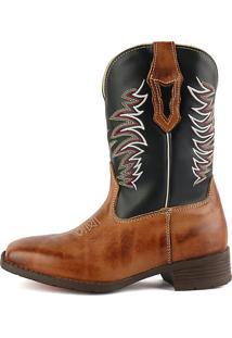 Bota Country Sapatofran Texana Bico Quadrado Tribal Preto