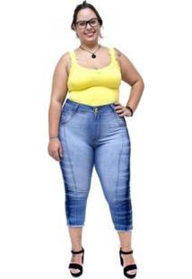 Calça Jeans Feminina Latitude Plus Size Cropped Joselice - Feminino-Azul