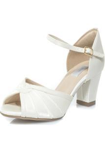 Sandália Durval Calçados Noiva Cetim Velvet Salto Confortável - Mv3603 Off White
