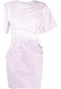 Kenzo Vestido Assimétrico Com Recortes - Roxo