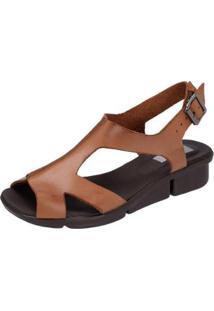 Sandália Danflex Calçados Anabela Feminina - Feminino-Caramelo