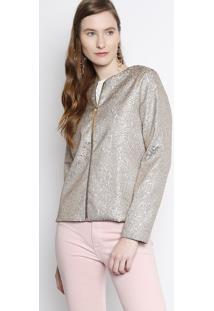 Jaqueta Abstrata Com Fios Metalizados - Cinza & Dourada