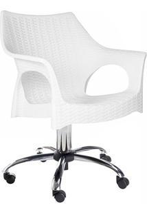 Cadeira Relic Office Branca Com Rodízio Cromado