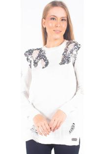 Blusa Bana Bana Tricô Off-White