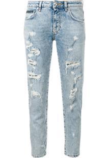 Philipp Plein Ripped Slim Fit Jeans - Azul
