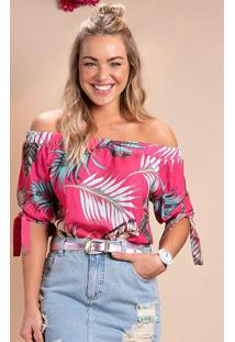 Blusa Ciganinha Folhagens Pink