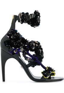 Versace Sandália Com Aplicação Floral De Paetês - Preto