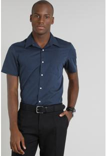 Camisa Masculina Comfort Com Bolso Manga Curta Azul Marinho