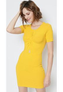 4fc81ba9b ... Vestido Canelado Com Torção- Amarelo- Colccicolcci