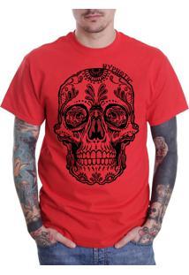 Camiseta Hypnotic Caveira Mexicana Vermelha
