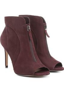 Ankle Boot Couro Shoestock Salto Fino Zíper - Feminino-Vinho
