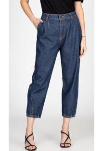 Calça Jeans Mom Recortes Escura Bloom Feminina - Feminino