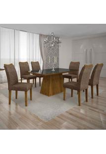 Conjunto De Mesa Com 6 Cadeiras Pampulha Ii Linho Canela E Marrom
