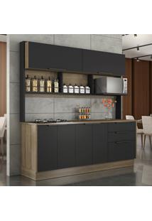 Cozinha Compacta Cook Ii 6 Pt 3 Gv Castanho E Preta