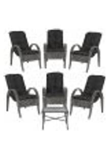 Jogo Com Cadeiras 6Un E Mesa P/ Jardim Edicula Varanda Descanso Trama Napoli Plus Tabaco A37