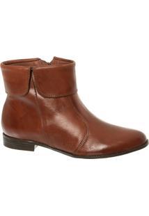 Ankle Boot Havana Couro Com Cano Dobrado