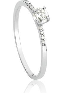 Anel De Ouro Branco 18K Solitário Feminino Com Diamantes-Coleção Desire