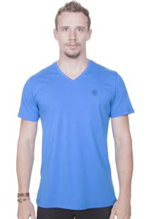 Camiseta Animalia Bordado Gola V Azul