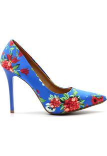 Scarpin Royalz Tecido Estampado Salto Alto Fino - Feminino-Azul
