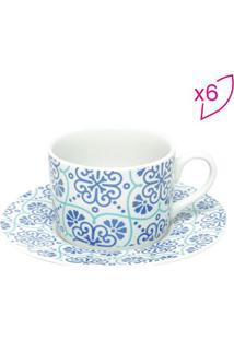 Jogo De Xícaras Para Chá Lisboa- Branco & Lilás- 6Pçbon Gourmet