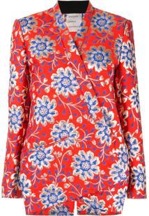 Maison Rabih Kayrouz Blazer Floral Brocado - Vermelho