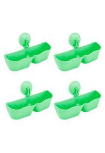 Kit 4 Sapateiras Organizadoras De Plástico Parede Com Ventosa Verde