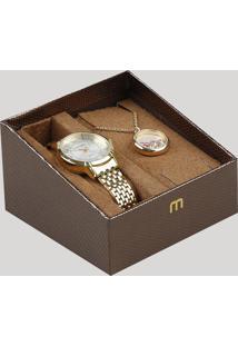 Kit De Relógio Analógico Mondaine Feminino + Colar - 53570Lpmvde1Ka Dourado - Único