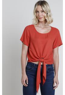 Blusa Feminina Cropped Com Nó Manga Curta Decote Redondo Cobre