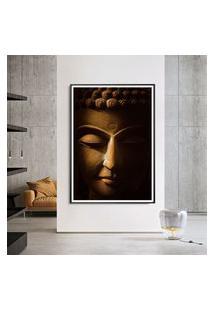Quadro Com Moldura Chanfrada Buda Dourado Médio