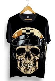 Camiseta Bsc Skull Gold Retro Helmet Full Print - Masculino
