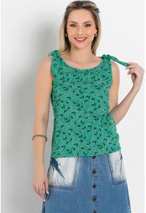 Blusa Floral Verde Com Amarração Moda Evangélica