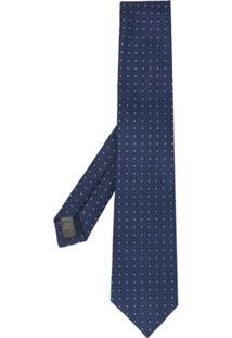 Gieves & Hawkes Gravata Geométrica Com Bordado - Azul