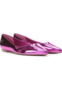 Sapatilha Santa Lolla Specchio Metalizada Bico Fino Feminina - Feminino-Pink